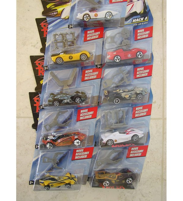 Speed Racer Hot Wheels 9 pack - Cars include the Mach 5, Racer X Street Car, Mach 4, Gray Ghost, Musha Motors, Snake Oiler, Mach 6, Racer X Race Car, GRX. These Mattel Hotwheels Cars are Specifically Designed to be Lightweight to Work on the Speed Racer R