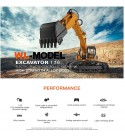 HMANE RC Excavator Toy 2.4G 1/16 Remote Control Excavator Engineering Full Functional Construction Vehicles with Lighting Sounds