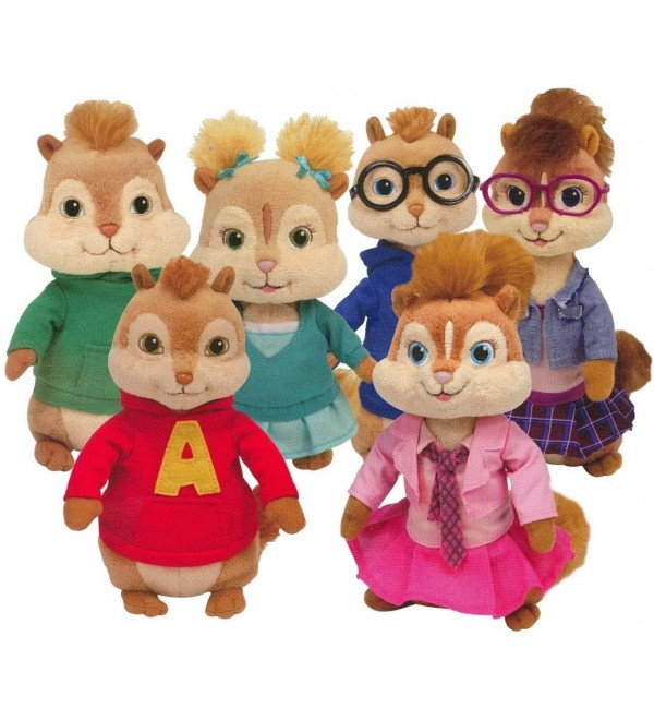 TY Beanie Babies - Alvin & the Chipmunks ( Complete Set of 6 )