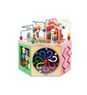 LRHD Wooden Activity Cube 5-in-1 Center, Beads Maze Roller Coaster Preschool Early Educational Learning Box Xylophone Toys with Pole Clip Chopsticks Preschool Gift