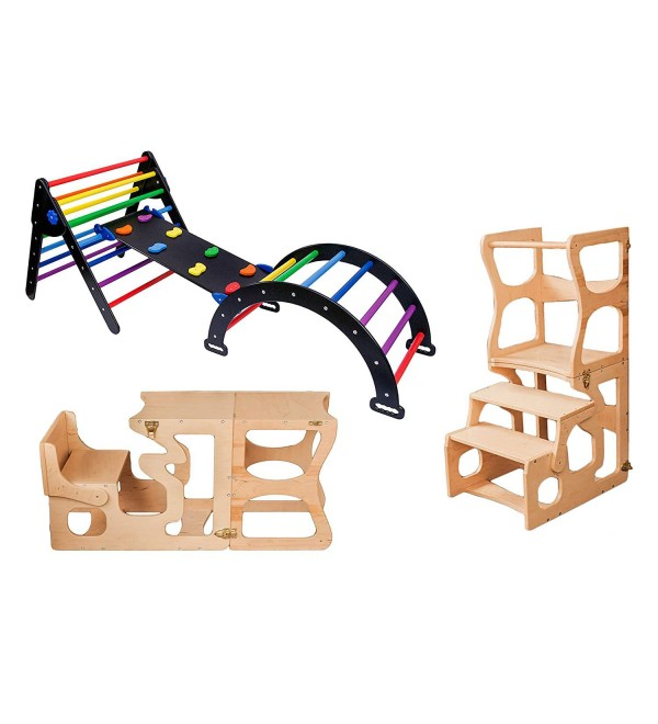 Pikler Triangle for Kids Toddlers Rock with ramp - Montessori Tower Step Stool - Learning Waldorf Climbing Toys - Arch Toy for Toddler - Pickler Rocking - Black + Rainbow (Standard Size)
