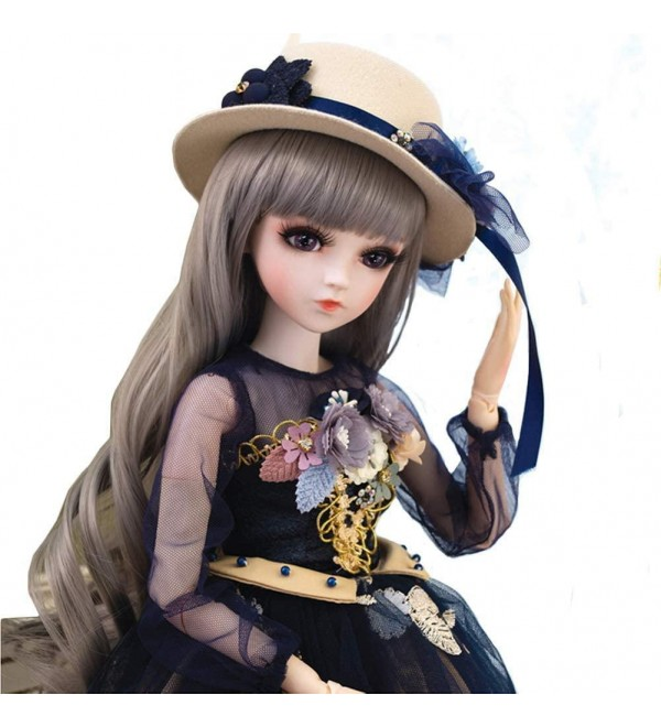 60Cm Girl Doll 1/3 BJD Dolls Doll Ball Jointed Doll Full Set, with Long Wig, Dolls with Accessories