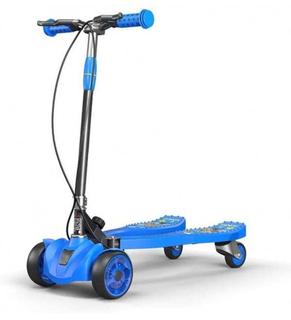 High Carbon Steel Alloy Slider Scooter with 4 LED Wheels,Blue Lion Pattern Foldable Swing Scooters Girls for Kids, Children, Adults, Boys & Girls