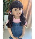 39inch 98cm Reborn Toddler Dolls Huge Baby Full Body Realistic Hard Vinyl Girl ,Anatomically Correct+ Long Hair Age 2 Dress Model Collectible (1901) (Jeans Girl)