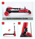 CYGJ Aluminum Alloy Girls Swing Scooter with 4,Red Foldable Scooter Board for Baby Over 3 Years Old