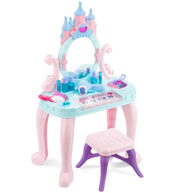 WLPOY Pretend Princess Girls Vanity Table Children's Keyboard Piano Toy Girl Play House Dressing Table Dressing Table Princess Makeup Box Set 3-6 Years Old Dressing Table Top Set