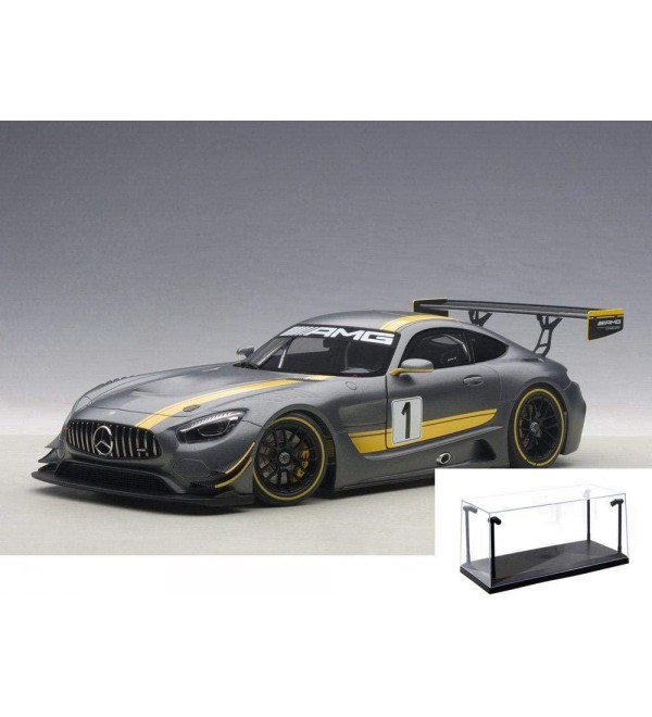 Diecast Car & LED Display Case Package - Mercedes-Benz AMG GT3 Presentation Car, Gray - Auto Art 81530 - 1/18 Scale Collectible Diecast Replica w/LED Display Case