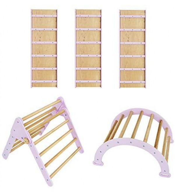 Pikler Triangle for Kids Toddlers Rock with 3 ramp - Learning Waldorf Climbing Toys - Arch Toy for Toddler - Structure Pickler Rocking Pastel Lilac + N.Wood (Small Size)
