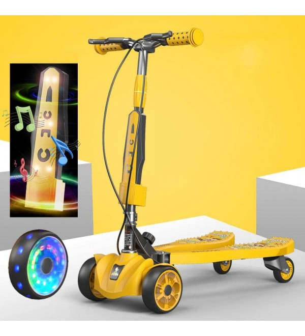 Carbon Steel Childrens Motorbike with 4 LED Wheels,Yellow Foldable T Bars Scooter for Children Boys Girls,