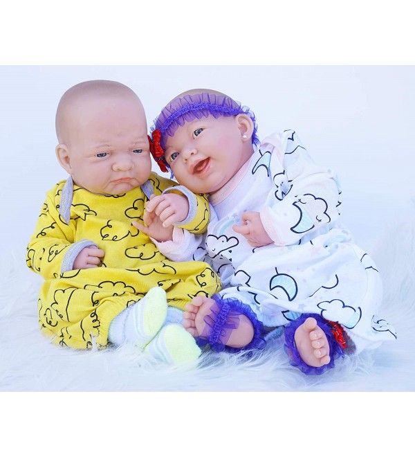 Realistic Reborn Baby Twins Pouting Boy 15 inch & Smiling Girl 15 inch Preemie w/Beautiful Accessories Anatomically Correct Washable Berenguer Real Soft Vinyl Lifelike Pacifier Doll Super Combo Price