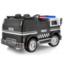 SUPERtrax Big Rig Emergency Kid's Ride On 4WD Police Truck 12V - EVA Foam Rubber Tires, Remote Control, Leather Seat, w/MP3 Player - Black