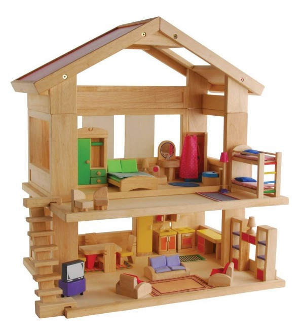Constructive Playthings KRP-20 Toys Dream Hardwood Doll House with 44 Piece Furniture Set, Grade: Kindergarten to 3