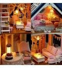 LPCMLS Miniature DIY Dollhouse Kit Wooden Miniature Doll House with Furnitures Assembling Crafts Toys Music with Accessories Creative Gift for Friends with