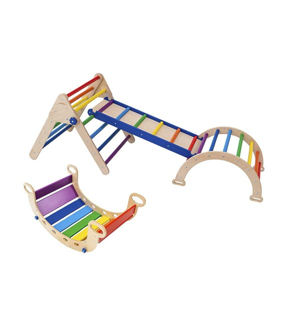 Balancing Board - Set Pikler Triangle for Kids Toddlers Rock with ramp - Climber Wooden Toys - Waldorf Wooden Rocking Play - Climbing Arch for Kids N.Wood+Rainbow(Small Size)