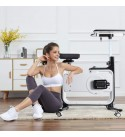 【US Fast Shipment】Elliptical Training Machines, Mini Stepper Stepping Machine Exercise Bike Bicycle Fitness with Adjustable Laptop Desk and Seat for Home Indoor Sport Legs Workout (White)