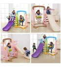 WUTONG Indoor Children's Slide Swing Combination Home 3-in-1 Non-Toxic and Odorless Multi-Function Climbing Toy Amusement Facility Toddler Slide (Color : A)
