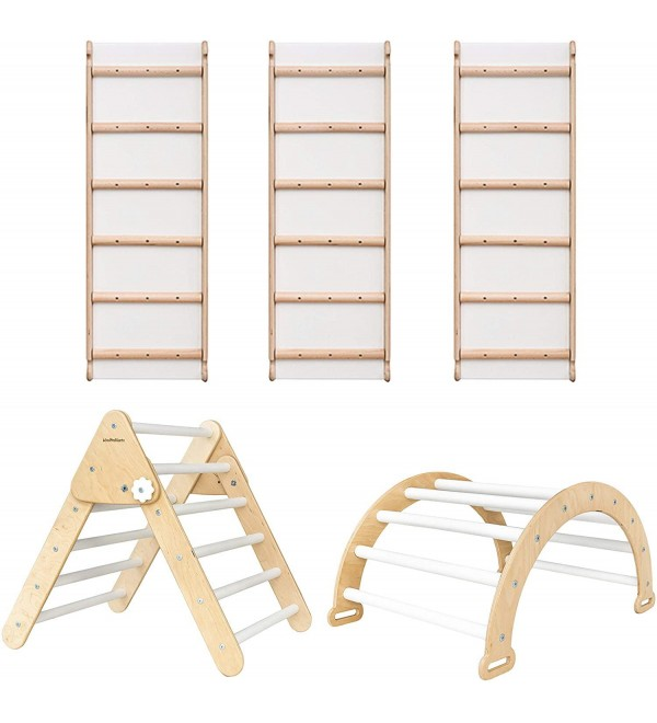 Pikler Triangle for Kids Toddlers Rock with 3 ramp - Learning Waldorf Climbing Toys - Arch Toy for Toddler - Structure Pickler Rocking N.Wood+White (Small Size)