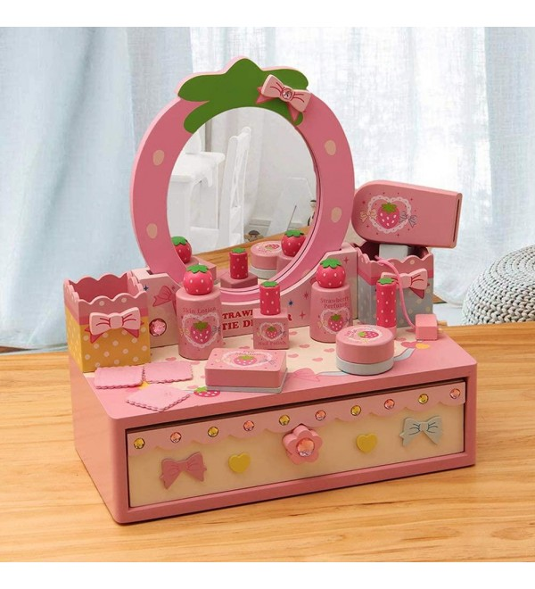 Childrens Vanity Table Set Glamour Mirror Makeup Dressing Table Stool Pretend Play Set Toy Beauty Sets Fashion Makeup Accessories with Drawer (Color : Dressing Table)