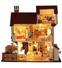 DIY House Miniature with Furniture Led Music Dust Cover Model Building Blocks Toys for Children