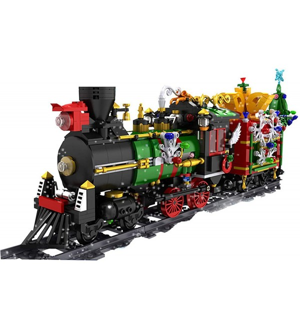 Christmas Steam Electric Train Set With Track,1296+Pcs Building Blocks Toy With Motor, Light and Music, Compatible With Train,Gift Toys For Children