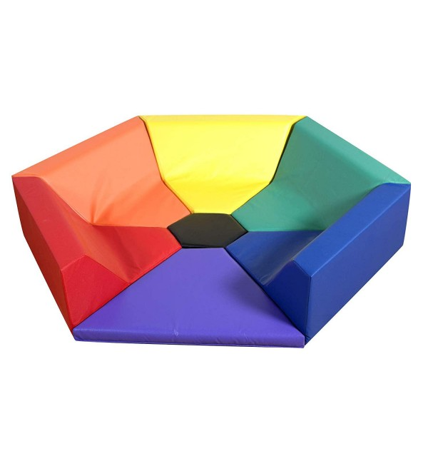 Children's Factory-CF321-910 Hexagon Happening Hollow, Classroom Furniture with Flexible Seng for Toddlers & Kids, Soft Foam Reading Nook for Daycares/Homes, Multicolor