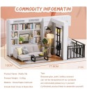 Izzya Large DIY Dollhouse, Wooden Dolls House Kit with Dust Cover and Accessories, Home Decoration, for Children's Christmas Birthday Gift
