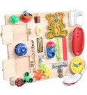 YWXKA Baby Montessori Busy Board, Toddlers Wooden Sensory Latches Activity Wall, Toddler Preschool Educational Game
