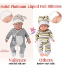 Vollence 18 inch Sleeping Full Body Silicone Baby Dolls,Not Vinyl Material Dolls,Eye Closed Realistic Newborn Real Baby Dolls That Look Real, Soft Handmade Silicone Lifelike Baby Doll - Boy
