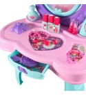 Teerwere Kids Vanity Table with Mirror Girls Play House Dressing Table Toy Simulation Cosmetics Make-up Box Set 14 Pieces Accessories Princess Dressing Table Kids Vanity Table