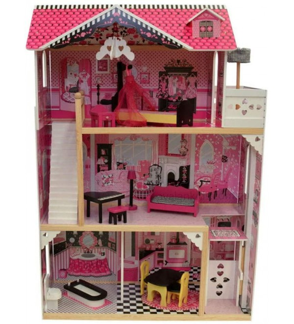 DIY House Kit Children's Toy House Doll House with Mini Dollhouse with Furniture and Accessories DIY House Kits to Build (Color : Pink, Size : 118x83x43cm)