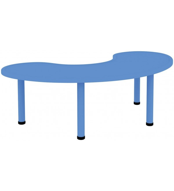 2xhome – Blue – Kids Table – Height Adjustable 18.5inches to 19.5inches - Half-Moon Plastic Modern Activity Table with Metal Legs for Toddler Child Furniture Preschool School Indoor or Outdoor
