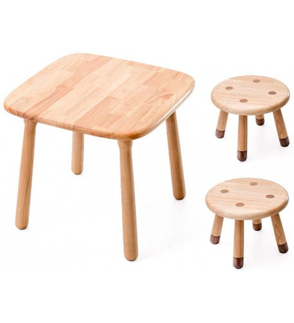 SMLZV Kids Table and Chair Set,Solid Wood,Hardwood Table and 2 Stool,Toddlers Activity Table,Childrens Table for Playroom/Daycare/Preschool