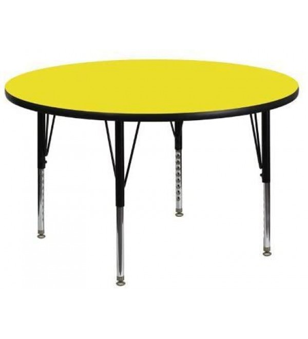 Flash Furniture 48'' Round Activity Table with 1.25'' Thick High Pressure Yellow Laminate Top and Height Adjustable Pre School Legs