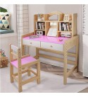 Student Study Table with Bookshelf Wood Desk with Chair Drawers Child's Top Desk Writing Table for Home Workstation