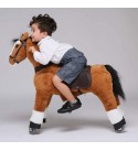 UFREE Ride on Horse for Kids 4-9 Years Old Height 36 Inch Medium Size Brown, Black Mane and Tail Rocking Horse for Kids as Great Birthday Gift Plush Ride on Pony Horse Mechanical Moving Walking Horse
