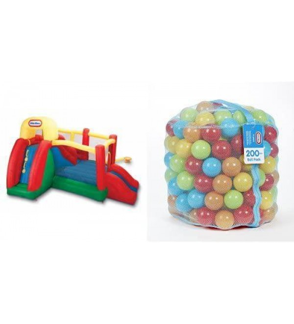 Little Tikes Double Fun Slide 'n Bounce Bouncer and 200 Ball Pack Bundle