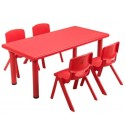 5Pieces Red Kids Child Plastic Dining Study Activity Table Chair Set Rectangle Desk Stackable Backrest Bench Seat Indoor Outdoor Home Classroom Daycare Preschool Kindergarten with Ebook