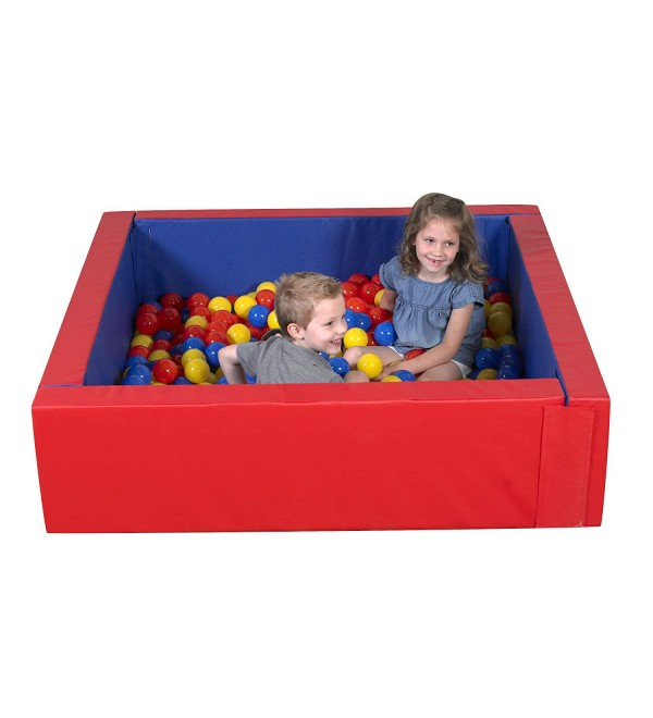 Children's Factory-CF331-031 Corral Ball Pool for Toddlers & Kids, Indoor Outdoor Soft Foam Square Ball Pit, Baby Play Yard, Kiddie Dry Pool - Red, Blue