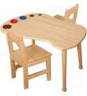 AJH Children's Table and Chair Set, Portable Activity Table, Game Room/Day Care/Preschool Class with Solid Wood Kindergarten Furniture