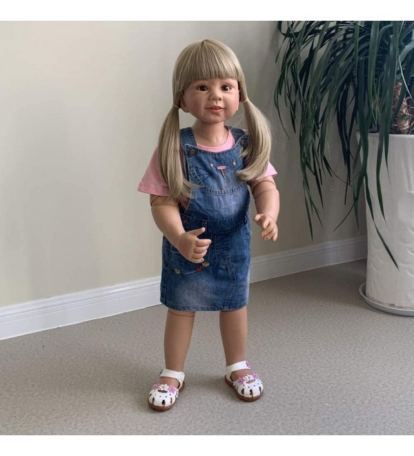 34inch Reborn Toddler Dolls,Huge Baby Full Body Hard Vinyl Girl Realistic Anatomically Correct+ Long Hair Age 2 Dress Model Collectible High Qualtity