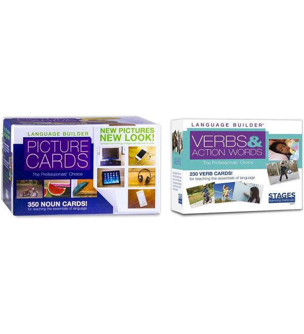 Stages Learning Language Builder Essentials Noun and Verb Flashcards for Autism and Aba Educational Vocabulary Cards