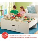 Melissa & Doug Deluxe Wooden Multi-Activity Table & Wooden Railway Set, 130 Pieces (E-Commerce Packaging, Great Gift for Girls and Boys - Best for 3, 4, 5 Year Olds and Up)