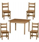 Preschool Table and Four (4) Chairs Handmade in the USA Wood Playroom Furniture (Natural)