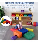 FDP SoftScape Playtime and Climb Multipurpose Soft Foam Playset with Foldable Seat for Infants and Toddlers, Crawling, Climbing, Block Play for Home, Daycare, Preschool (6-Piece) - Navy/Orange