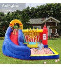 AirMyFun Food Bouncy Castle, Bounce House with Hamburger Ketchup Shape, Jump & Slide Area with Safety Net, Giant Castle with Ball Pit & Air Blower
