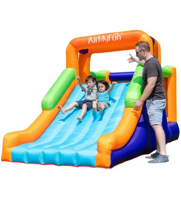 AirMyFun Inflatable Bounce House, Jumping Castle with Long Slide, Inflatable Bouncer with Air Blower, for Outdoor & Indoor, Idea for Kids (Large Slide)