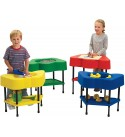 """Angeles-AFB510 Adjustable Height Sensory Tables, 24"""" by 13"""" by 18-24"""" (Set of 4) – Configure Fun Shaped Tables in a Row or Circle – Bright Colors, Lid and Storage Shelf – Fill with Sand, Toys, Beads and More,Multicolor"""