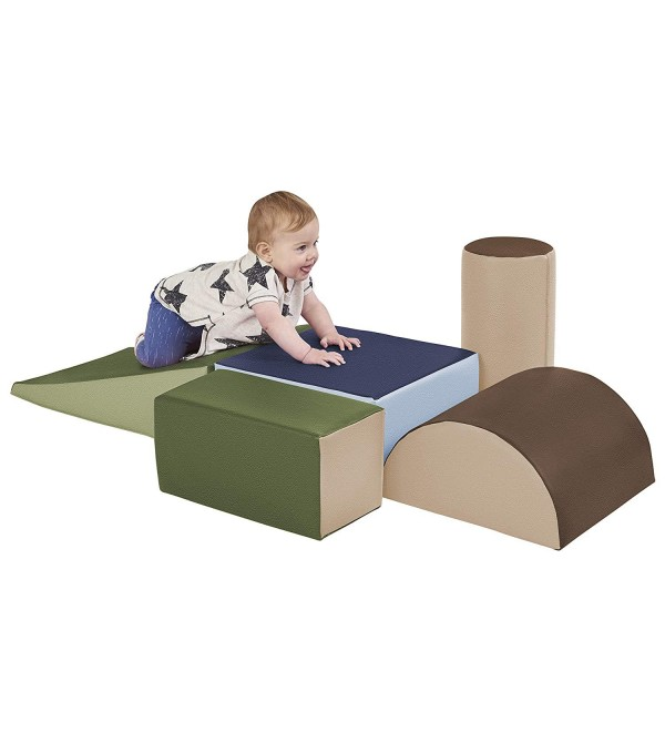 ECR4Kids SoftZone Climb and Crawl Activity Play Set – Lightweight Foam Shapes for Climbing, Crawling and Sliding for Toddlers and Kids (5-Piece), Earthtone