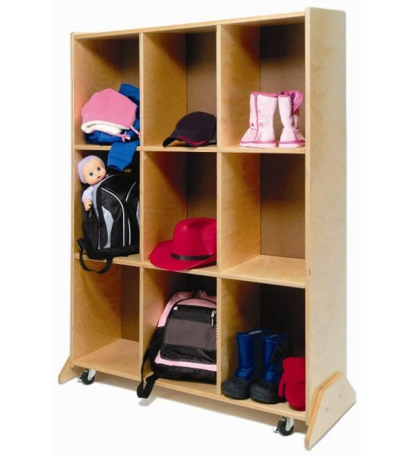 Whitney Brothers 2-in-1 Preschool Kids Mobile Teaching Center With 9 Wooden Cubbie Storage Unit