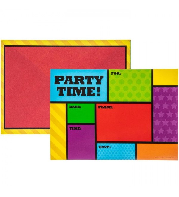 Primary Party Time Color Block Fill In Invitations